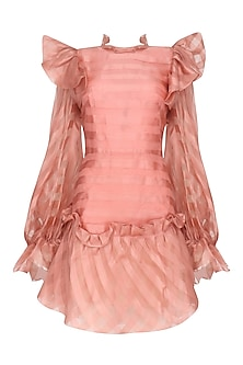 Pink Bubble Frill Pouf Sleeves Dress