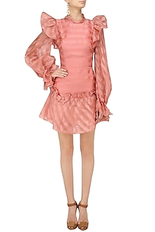 Pink Bubble Frill Pouf Sleeves Dress by Gauri and Nainika