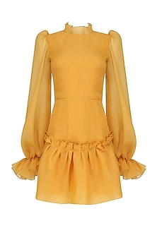 Mustard Long Sleeve Raglan Cut Trapeze Dress