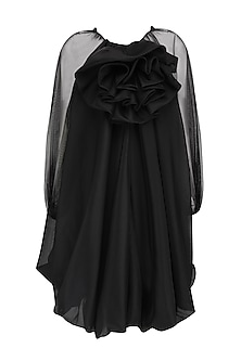 Black Trapeze Balloon Dress