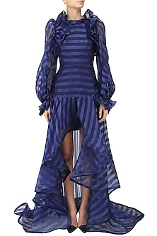 Blue Pouf Sleeves High Low Gown by Gauri and Nainika