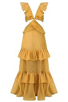 Mustard Frill Cutout Gown by Gauri and Nainika