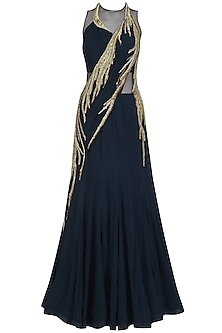Midnight Blue Zardosi and Dabka Embroidered Saree Lehenga by Gaurav Gupta