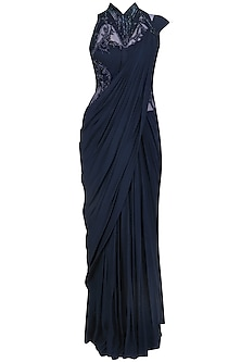Midnight Blue Bugle Beads Embroidered Saree Gown