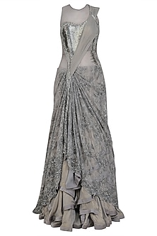 Grey Bugle Beads and Cutdana Saree Lehenga