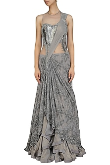 Grey Bugle Beads and Cutdana Saree Lehenga by Gaurav Gupta