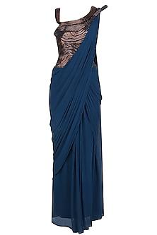 Dark Blue Bugle Beads Off Shoulder Saree Gown