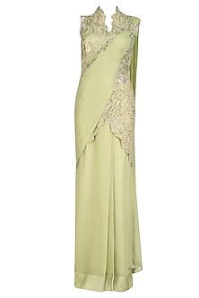 Apple Green Cutdana and Dabka Embroidered Saree Gown