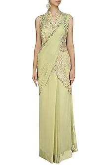 Apple Green Cutdana and Dabka Embroidered Saree Gown by Gaurav Gupta