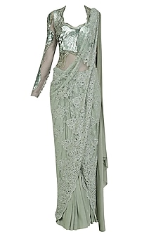 English Green Embroidered Saree Gown by Gaurav Gupta