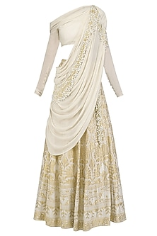 Calico Ecru Pearl and Cutdana Embroidered Saree Lehenga