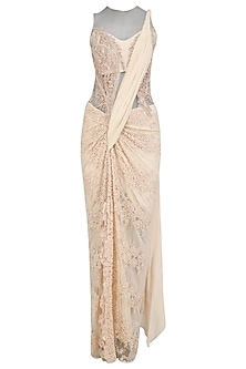 Powder Pink Pearl and Cutdana Embroidered Saree Gown