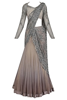 Grey Bugle Beads and Cording Saree Lehenga by Gaurav Gupta