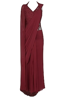 Deep Red Floral Thread Embroidered Saree Gown