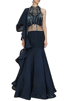 Midnight Blue Cutdana and Bugle Beads Embroidered Saree Lehenga by Gaurav Gupta