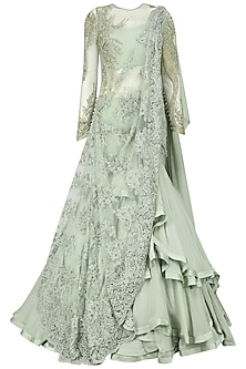 Apple Green Embroidered Lehenga Sari