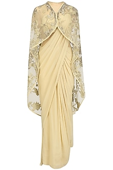 Gold Sari Gown with Embellished Cape