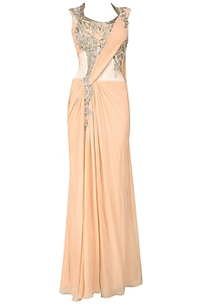 Peach Pink Embroidered Sari Gown