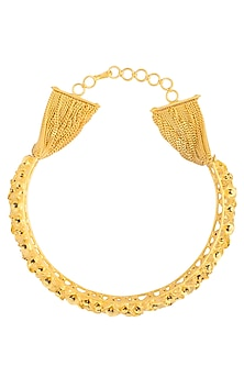 Gold Finish Cluster Of Flowers Choker Style Necklace by Gauri Himatsingka
