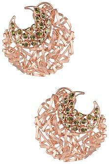 Rose Gold Plated Crescent Ribbon American Diamond Earrings by Gauri Himatsingka