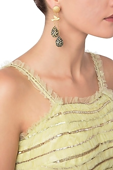 Gold Plated Perched Bird Earrings with Green and Yellow American Diamonds