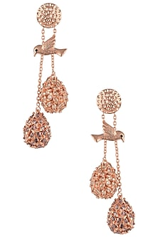 Rose Gold Plated Perched Bird Earrings with Rhodolite and Champagne American Diamonds by Gauri Himatsingka
