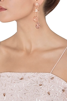 Rose Gold Plated Perched Bird Earrings with Rhodolite and Champagne American Diamonds