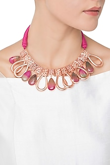 Rose Gold Plated Pink Quartz and American Diamond Necklace