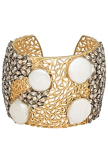 Gold Plated Filigree, American Diamonds and Mother Of Pearl Hand Cuff by Gauri Himatsingka