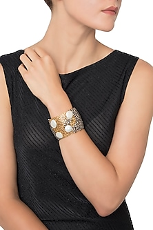 Gold Plated Filigree, American Diamonds and Mother Of Pearl Hand Cuff