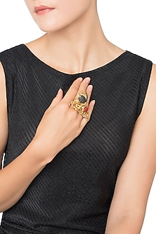 Gold Plated Coral Bug Motif Ribbon Work Ring