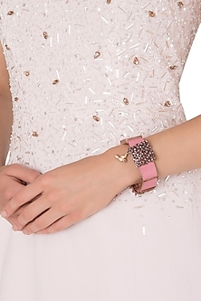 Rose Gold Plated Pink Leather American Diamond Bracelet