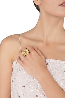 Gold Plated 3D Yellow Flower Tumble Ring