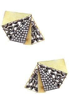 Gold Finish Black Marquise Shape American Diamonds Fan Shape Earrings by Gauri Himatsingka