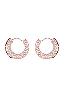 Rose Gold Finish Brown Color Stone Hoop Earrings by GK