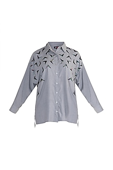 Grey Bead Embellished Shirt by Gunu Sahni