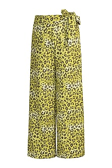 Lime Green Printed Palazzo Pants With Tie-Up Belt by Gunu Sahni