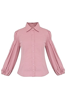 Blush Pink Balloon Sleeves Shirt
