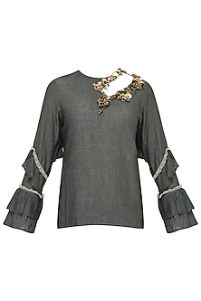 Grey Embroidered Frilled Sleeves Top