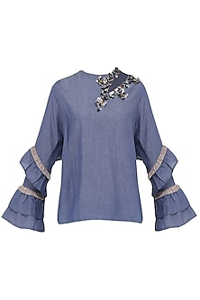 Blue Embroidered Frilled Sleeves Top