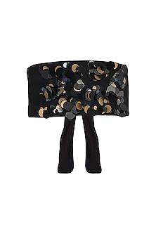 Black Metallic Sequins Belt by Gunu Sahni