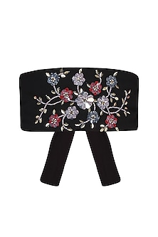 Black Sequins and Beads Embroidered Obi Belt by Gunu Sahni