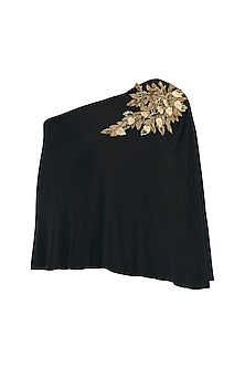 Black One Side Off Shoulder Embellished Top