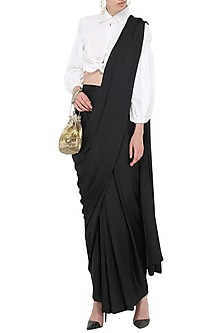 Black Pre-Stitched Saree by Gunu Sahni