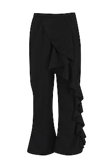 Black flared frill pants
