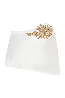 White One Side Off Shoulder Embellished Top