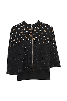 Black Front Open Embroidered Cape Jacket