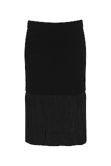 Black Tassel Embellished Midi Skirt