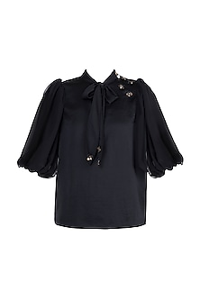 Black Embellished Knotted Top by Gunu Sahni