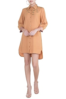 Ochre Yellow Embellished Shirtdress by Gunu Sahni